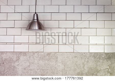 ceiling light lamp on wall with copy space.