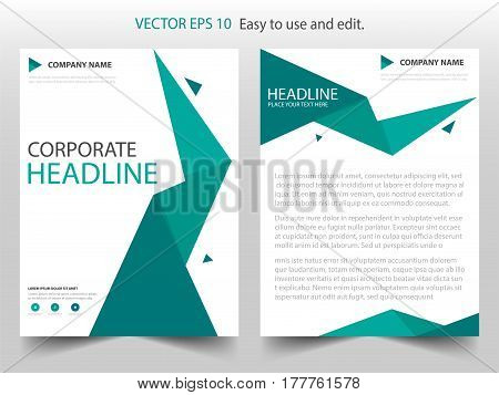 Green polygonal abstract Vector Brochure annual report Leaflet Flyer template design book cover layout design abstract business presentation template a4 size design