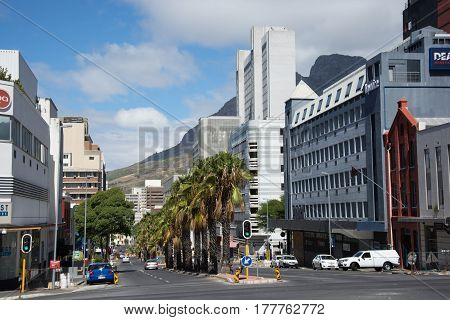 Cape Town South Africa - March 05 2017: The corner of Buitengracht and Wale streets in Cape Town's city center