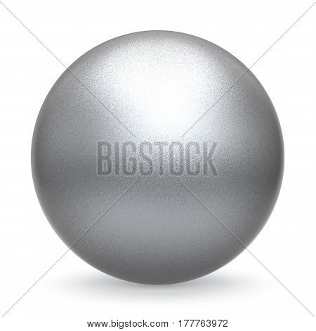 Silver white ball sphere round button basic matted metallic circle geometric shape solid figure. 3D illustration isolated
