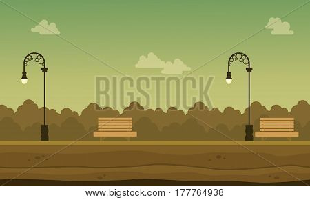Vector flat of garden scenery background collection stock