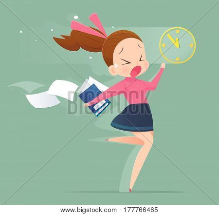 Illustration of an office worker running to meet a deadline. Business woman concept illustration.