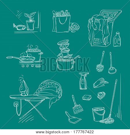 Vector set sketch illustration on a dark background of objects and situations housework. Unwashed dishes and not ironed linen, items and accessories for cleaning, buy food and cooking