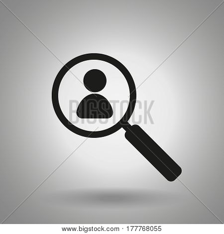 people search icon . Magnifier and man symbol