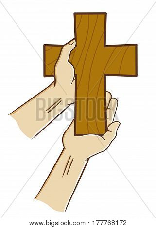 Vector stock of two hand holding wooden christian cross