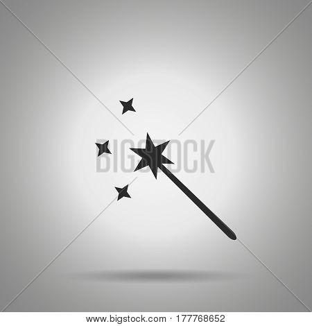 magic wand icon . Symbol with wand and stars