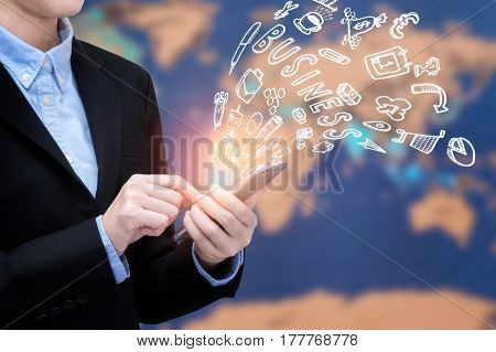 Young Smart Business Woman Use Smartphone And Internet Of Things Technology For Global Business Conn