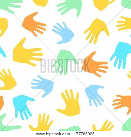 Seamless pattern from hands. Abstract backdrop, background from human palms