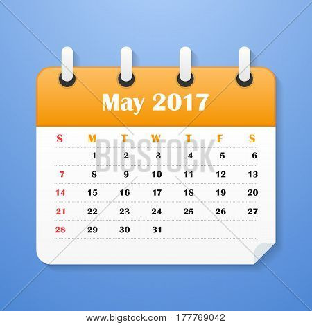 USA Calendar for May 2017. Week starts on Sunday.