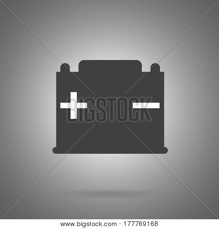 car battery icon . Simple car battery symbol wit plus and minus