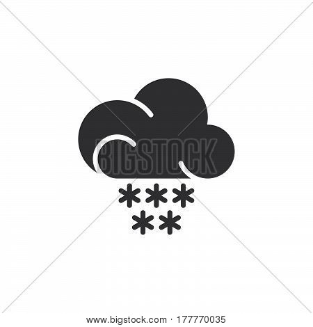 Snow cloud icon vector filled flat sign solid pictogram isolated on white. Weather forecast symbol logo illustration