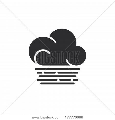 Fog cloud icon vector filled flat sign solid pictogram isolated on white. Weather forecast symbol logo illustration