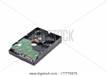 board  harddisk drive is the data storage for the digital data computer on white background  harddisk technology isolated