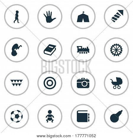Vector Illustration Set Of Simple Kid Icons. Elements Kid, Board, Dictionary And Other Synonyms City, Arrow And Baby.