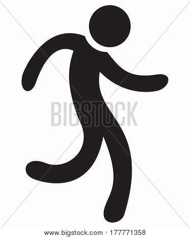 Men running simbol achievement ahead aim background badge