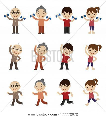 Senior man and woman young man and woman exercising together family