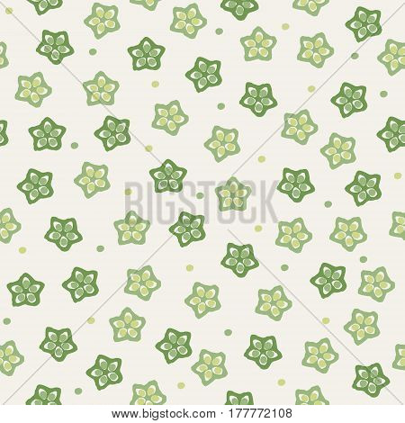 Sliced okra background illustration in cream yellow background