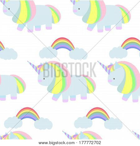 Seamless pattern with magic unicorn and rainbow. Vector flat background. Childish background.
