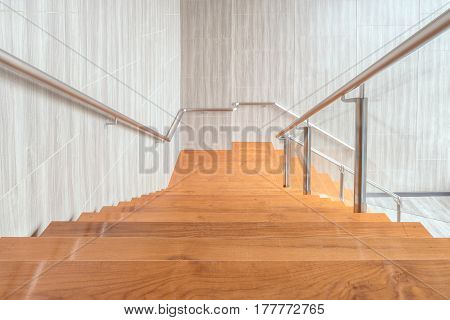 Modern space of wooden stairs interior design in modern building