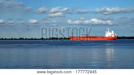 Ships on Detroit river to factories dock