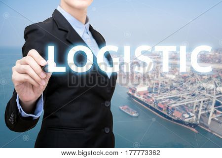 Smart Business Woman Is Writing Logistic Concept With Shipping Boat At Shipping Yard In Background F
