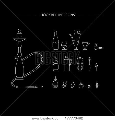 Hookah Line Icons On A Black Background.