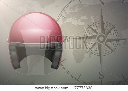 Background of Motorcyclist traveler. Helmet on map. Transport Illustration.