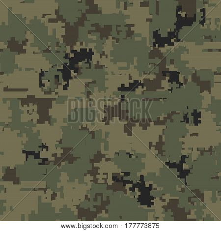 Digital pixel camouflage seamless patterns.  Texture Illustration isolated on white background.