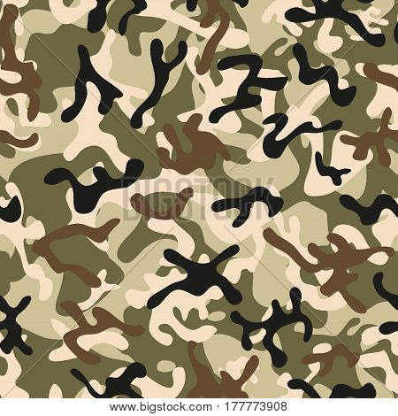 Classic Forest Leaf Camouflage seamless patterns.  Illustration.