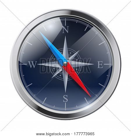 Glossy Bright Vintage Compass analog display in a metal case with wind rose. Time Illustration.