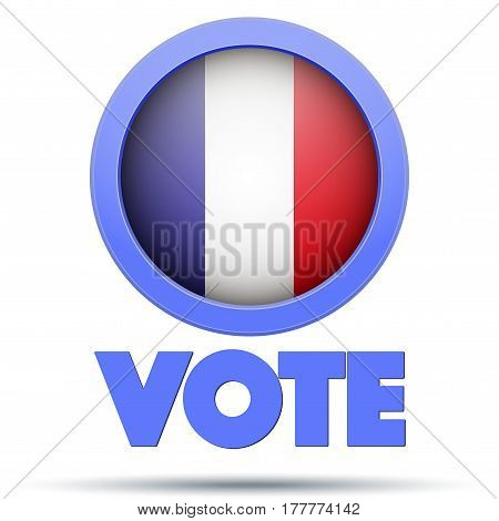 Circle Symbol of Election 2017 in France. French flag in Frame. Politics illustration Isolated on white background.