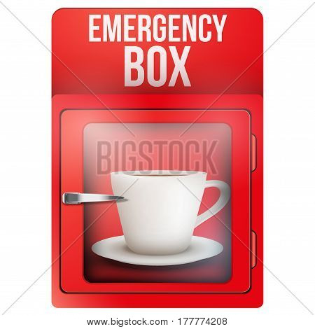 Red emergency box with cup of coffee.  Illustration isolated on white background.