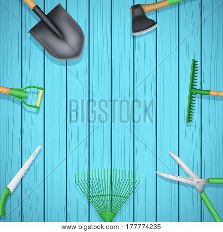 Background of Season Garden tools on wood backdrop. Taking care of a garden or a farm. Season Illustration
