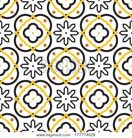 Azulejos black and white mediterranean seamless tile pattern. Geometric spanish ceramic shapes vector texture for fabric textile and wallpaper.