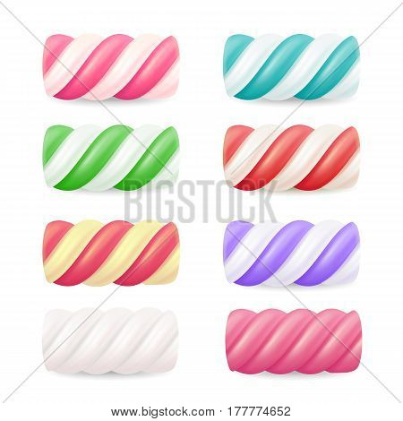 Realistic Marshmallow Candy Vector. Set Colorful Twisted Marshmallows.