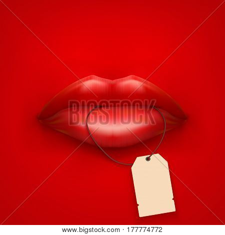 Background of Woman mouth with tag and lips. Sale ot promotion illustration.