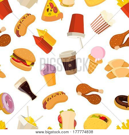 Fast food vector seamless pattern. Background with hamburger sandwich food, illustration of beverage and fast food ice cream