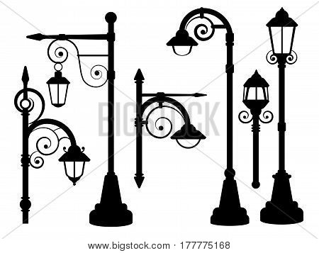 Street lamp, road lights vector silhouettes. Street urban lamp, illustration of post with lamp lantern