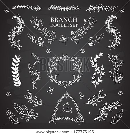 Nature floral vector doodle elements, vintage wedding branch wreaths on blackboard. Decoration branch wreath, illustration of floral branch on chalkboard