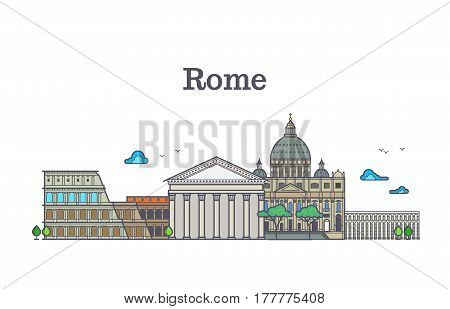 Line art rome architecture, italy buildings vector illustration. Ancient color rome panorama with monument and arena colosseum, rome structure building famous