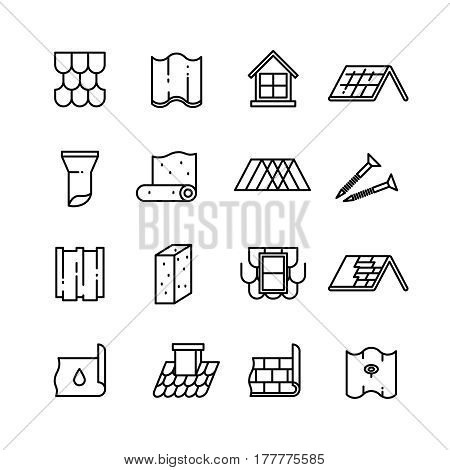 Roof, housetop construction materials, waterproofing thin vector icons. Material for roof house, architecture roof ceramic with pipe illustration