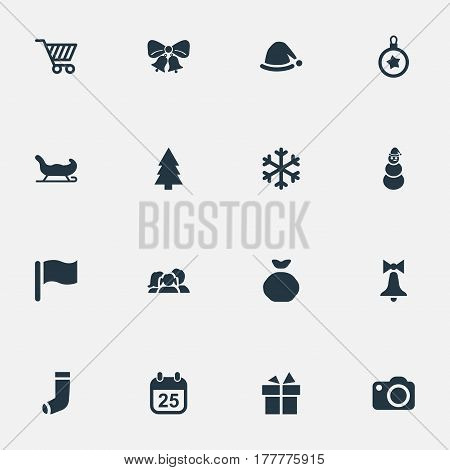 Vector Illustration Set Of Simple Christmas Icons. Elements Bag, Photography, Snow And Other Synonyms Shopping, Gift And Day.