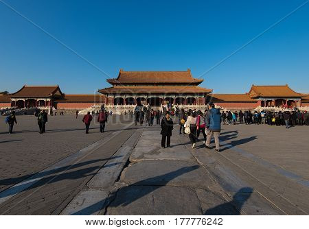 Beijing, China - Circa November 2014 - A shot of The Hall Of Supreme Harmony in the Forbidden City, Beijing, China