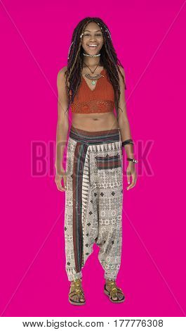 African Descent Female Standing Smiling