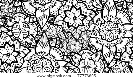 Abstract Seamless Black and White Flower Pattern. Hand Drawn Monochrome Background.