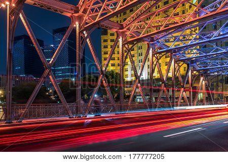 Nightview of the Waibaidu Bridge in ShanghaiChina