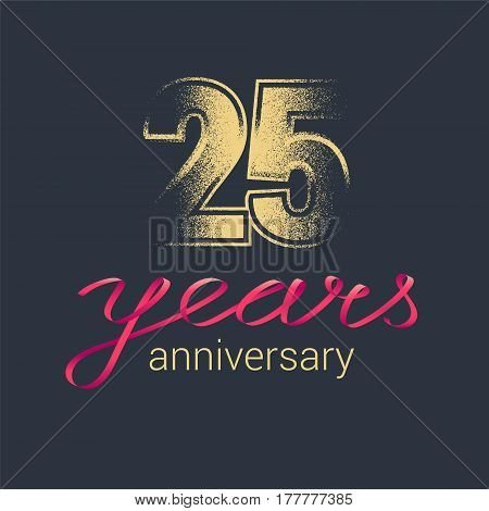 25 years anniversary vector icon logo. Graphic design element with golden glitter stamp for decoration for 25th anniversary
