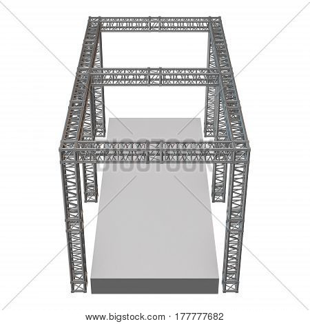 Steel truss girder rooftop construction with outdoor festival stage. 3d render podium isolated on white.