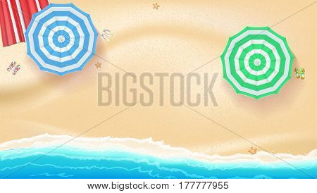 Set of colorful beach sun umbrellas flip-flops and beach Mat on the background of sand near the sea surf with beach flip flops and starfish, top view. Vector illustration for your poster or covers