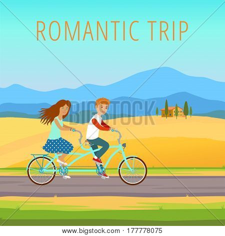 Man and woman traveling on tandem. Romantic trip.